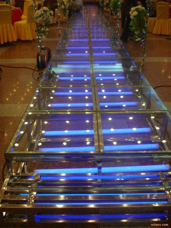 4 level 4x4ft Adjustable Movable Aluminum Stage With 18mm Thickness Glass Board For Wedding And Other Show